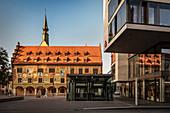 Ulm City Hall festively decorated for Oath Monday, Ulm, Danube, Swabian Alb, Baden-Württemberg, Germany