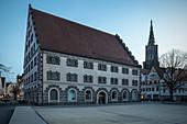 Kornhaus and church tower of Ulm Minster, Ulm, Danube, Swabian Alb, Baden-Württemberg, Germany