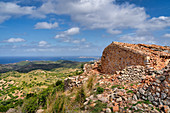 View from the Castle of Santa Águeda to the Mediterranean Sea, Menorca, Balearic Islands, Spain, Europe
