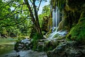 At the Schleier Falls in Ammerschlucht near Saulgrub, Garmisch-Partenkirchen district, Bavarian Alpine foothills, Upper Bavaria, Bavaria, Germany, Europe