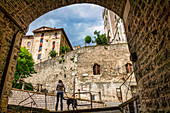 Entrance to the old town of Gubbio, Gubbio, Perugia Province, Umbria, Italy, Europe