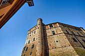 View up to Castello di Roddi, Roddi, Province of Cuneo, Piedmont, Italy, Europe