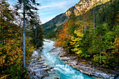 The river Rißbach in autumn in the Karwendel, Hinterriss, Tyrol, Austria, Europe
