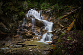At the Lainbach waterfall near Kochel am See, Bavaria, Germany, Europe