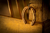 Horseshoes in an old stable, Upper Bavaria, Bavaria, Germany; Europe