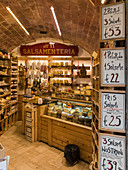 Small grocery store in San Gimignano, Province of Siena, Tuscany, Italy