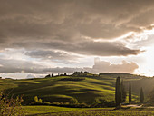 Weiche Hügel im Val d'Orcia, Toskana, Italien