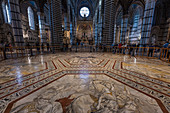 Marble floor in the Duomo of Siena, Siena, Province of Siena, Tuscany, Italy