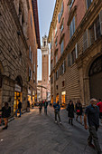 Evening in the streets of Siena, Province of Siena, Tuscany, Italy