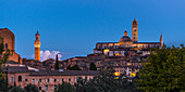 Torre del Mangia and Siena Cathedral at the blue hour, Siena, Province of Siena, Tuscany, Italy