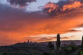 San Gimignano in sunset, Province of Siena, Tuscany, Italy