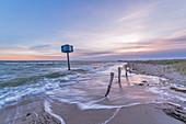 Tower 9 with dune landscape on the beach of Heiligenhafen, Heiligenhafen, Baltic Sea, Ostholstein, Schleswig-Holstein, Germany