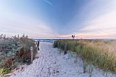 Beach path to the sea in Heiligenhafen, Baltic Sea, Ostholstein, Schleswig-Holstein, Germany