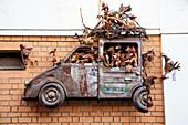 Original facade decoration, car occupied with chickens, work of art, capital Antananarivo, Madagascar, Africa