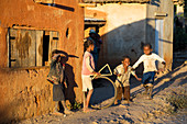 Children playing, Merina tribe, village in the highlands, Madagascar, Africa