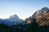 Gesäuse mountains in sunset: Admonter Kaibling, Sparafeld, Admonter Reichenstein and Großer Ödstein (from left), Styria, Austria.