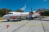 Air Tahiti ATR 72-600 aircraft on apron at Bora Bora Airport (BOB), Bora Bora, Leeward Islands, French Polynesia, South Pacific