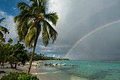 Coconut trees and water sports activities at Sofitel Ia Ora Beach Resort with rainbow over Moorea Lagoon, Moorea, Windward Islands, French Polynesia, South Pacific