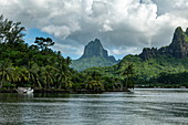Cook's Bay coastline with Mount Tohivea in the distance, Moorea, Windward Islands, French Polynesia, South Pacific