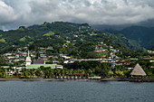 Street view of Papeete with church, Papeete, Tahiti, Windward Islands, French Polynesia, South Pacific