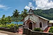 Eglise Saint Joseph Catholic Church on Cook's Bay, Moorea, Windward Islands, French Polynesia, South Pacific