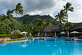 Swimming pool at the Hilton Moorea Lagoon Resort & Spa, Moorea, Windward Islands, French Polynesia, South Pacific