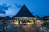 Toatea Creperie & Bar on pier to overwater bungalows at Hilton Moorea Lagoon Resort & Spa, Moorea, Windward Islands, French Polynesia, South Pacific