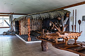 Wood carvings and artifacts on display at the Te Tumu Cultural Center, Tekoapa, Ua Huka, Marquesas Islands, French Polynesia, South Pacific