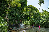 People relax in a river with a waterfall amid lush vegetation, near Taravao, Tahiti, Windward Islands, French Polynesia, South Pacific