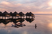 Silhouette of woman in the water next to the outrigger canoe and overwater bungalows of the Tahiti Ia Ora Beach Resort (managed by Sofitel) at sunset, near Papeete, Tahiti, Windward Islands, French Polynesia, South Pacific