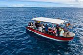 Aerial view of tourists on tour boat on the southwest coast of Tahiti-Iti, Pointe Puforatiai, Tahiti, Windward Islands, French Polynesia, South Pacific
