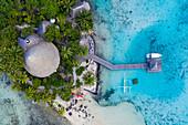 Aerial view of Sofitel Bora Bora Private Island Resort in Bora Bora Lagoon, Vaitape, Bora Bora, Leeward Islands, French Polynesia, South Pacific