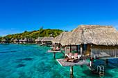 Aerial of overwater bungalows of Sofitel Bora Bora Private Island Resort in Bora Bora Lagoon, Vaitape, Bora Bora, Leeward Islands, French Polynesia, South Pacific