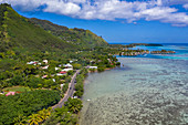 Aerial view of the coastal road along the Moorea Lagoon, Apootaata, Moorea, Windward Islands, French Polynesia, South Pacific