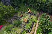 Aerial view of the archaeological site of Meae Iipona, Puamau, Hiva Oa, Marquesas Islands, French Polynesia, South Pacific