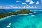 Aerial view of tour boats in the Bora Bora lagoon, Bora Bora, Leeward Islands, French Polynesia, South Pacific