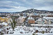 View of Coburg from Adamiberg in winter, Upper Franconia, Bavaria, Germany