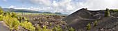 Volcanic landscape at Mount Etna, side crater Monti Sartorius, Sicily, Italy