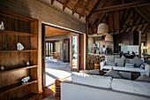 Stylish interior of a residence villa accommodation on hill at Six Senses Fiji Resort, Malolo Island, Mamanuca Group, Fiji Islands, South Pacific