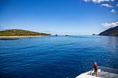 Catamaran Yasawa Flyer II (South Sea Cruises) carries passengers to resorts and hostels in the Yasawa Archipelago, near Wayaseva Island, Yasawa Group, Fiji Islands, South Pacific
