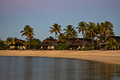Beach bungalow and coconut trees at the Fiji Marriott Resort Momi Bay at sunset, Momi Bay, Coral Coast, Viti Levu, Fiji Islands, South Pacific