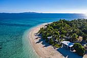 Aerial view of Malamala Island Beach Club, Mala Mala Island, Mamanuca Group, Fiji Islands, South Pacific