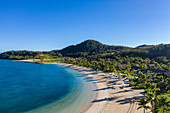 Aerial view of beach with coconut palms at Six Senses Fiji Resort, Malolo Island, Mamanuca Group, Fiji Islands, South Pacific