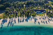 Aerial view of beach with shadows from coconut trees at Six Senses Fiji Resort, Malolo Island, Mamanuca Group, Fiji Islands, South Pacific