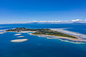 Aerial view of Malolo Island with Viti Levu in the distance, Malolo Island, Mamanuca Group, Fiji Islands, South Pacific