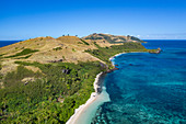 Aerial view of beach and coast, Yaqeta, Yangetta Island, Yasawa Group, Fiji Islands, South Pacific