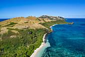 Aerial view of beach and coast, Yaqeta, Yangetta Island, Yasawa Group, Fiji Islands, South Pacific