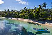 Aerial view of boat and beach with coconut trees, Yaqeta, Yangetta Island, Yasawa Group, Fiji Islands, South Pacific