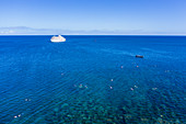 Aerial view of people enjoying snorkeling and water sports along coral reef with cruise ship MV Reef Endeavor (Captain Cook Cruises Fiji) in the distance, Yaqeta, Yangetta Island, Yasawa Group, Fiji Islands, South Pacific