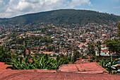 View over rooftops and houses on hillside, Kigali, Kigali Province, Rwanda, Africa